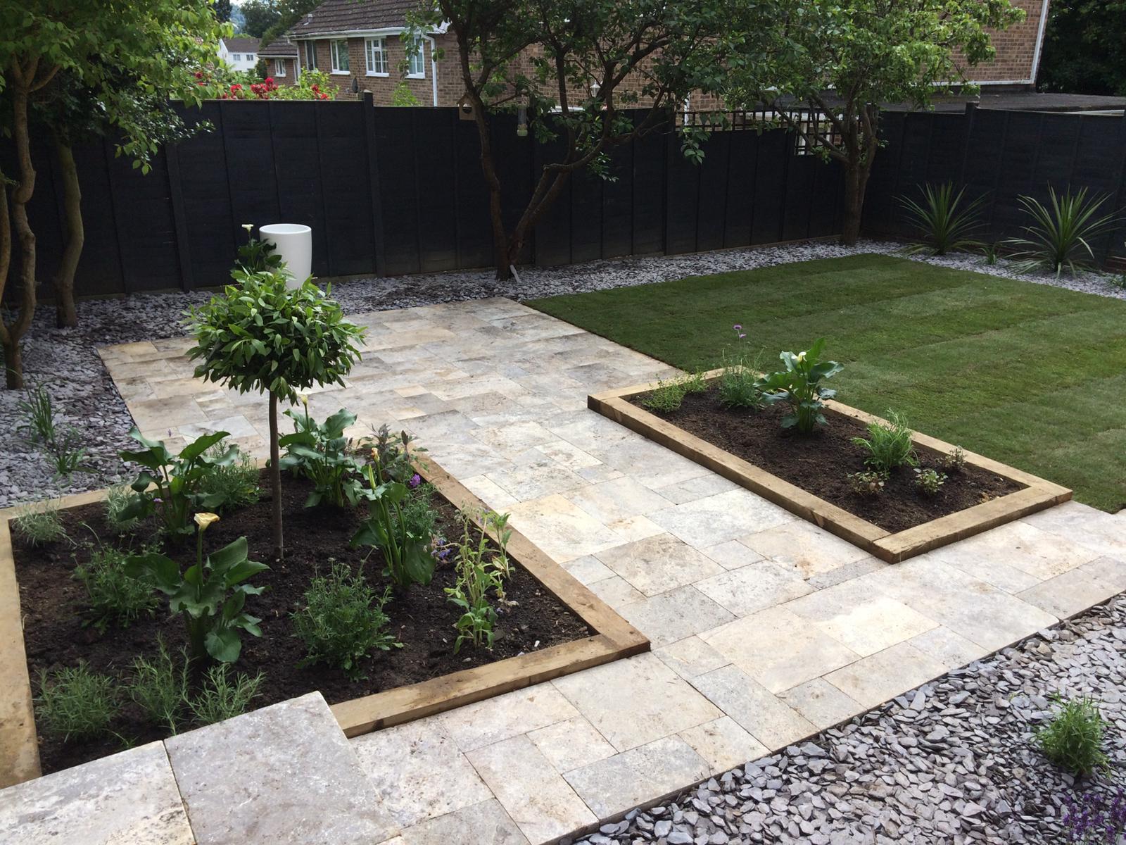 Gravel, grass and patio garden
