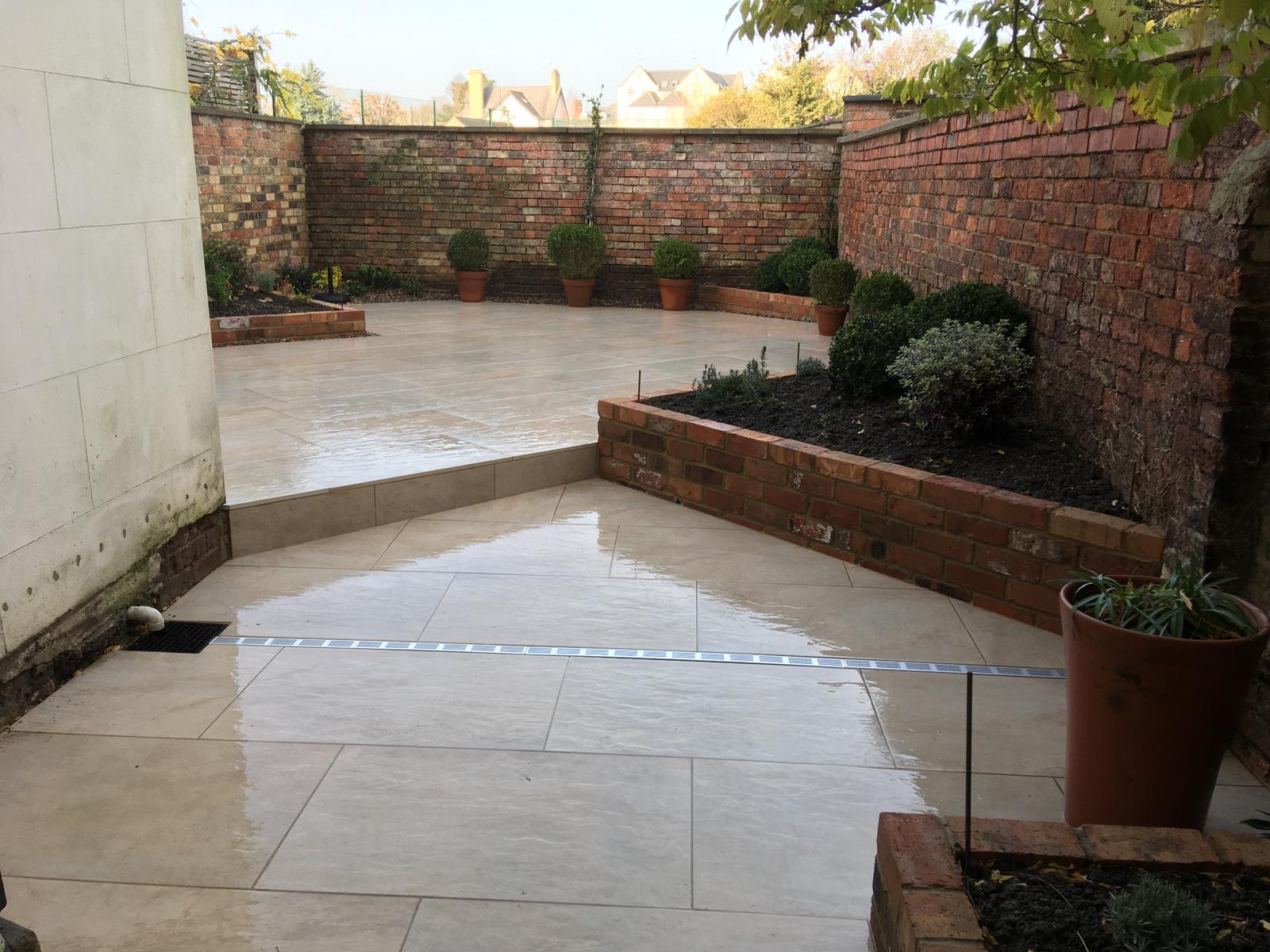 Angular borders in high walled garden