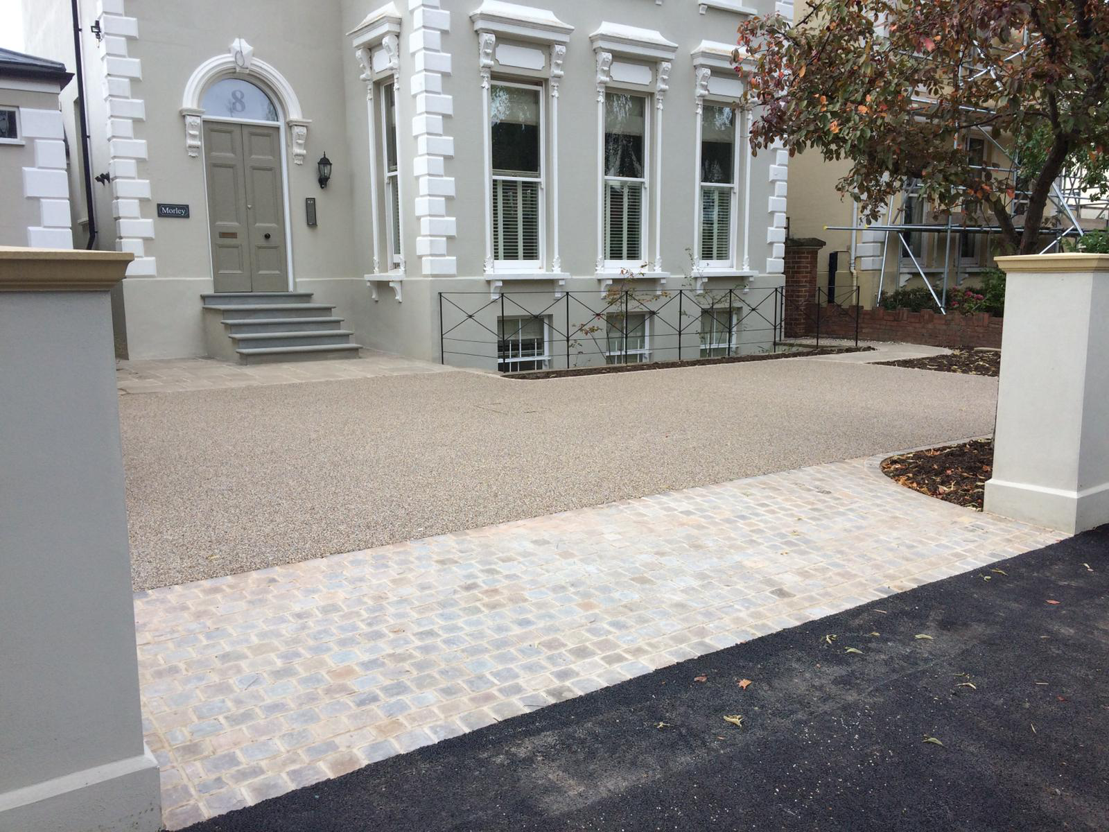 Period property resin bound driveway with apron by Martyn Powell Landscapes